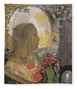Fertility. Woman In Flowers Fleece Blanket