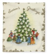 Festive Christmas Tree In A Town Square Fleece Blanket