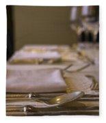 Festive Table Setting For A Formal Dinner  Fleece Blanket
