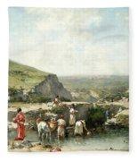 Fetching Water. Algeria Fleece Blanket