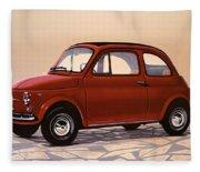 Fiat 500 1957 Painting Fleece Blanket