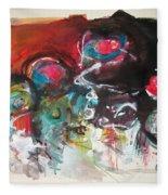 Fiddleheads- Landscape Painting For Sale Red Blue Green Fleece Blanket