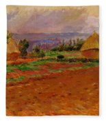 Field And Haystacks 1885 Fleece Blanket