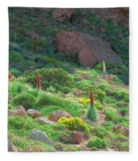Field Of Echium Wildpretii In The Teide National Park Fleece Blanket