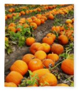 Field Of Pumpkins Card Fleece Blanket