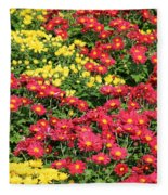 Field Of Red And Yellow Flowers Fleece Blanket