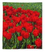 Field Of Red Tulips Fleece Blanket