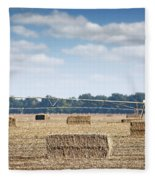 Field With Straw Bale And Center Pivot Sprinkler System Agricult Fleece Blanket