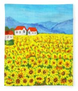 Field With Sunflowers Fleece Blanket