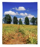 Fields Of Chopped Flowers At Nir Banim Fleece Blanket