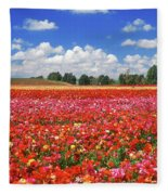 Fields Of Flowers At Nir Banim Fleece Blanket