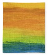 Fields Of Gold 1 - Abstract Summer Landscape Painting Fleece Blanket