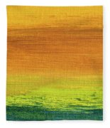 Fields Of Gold 3 - Abstract Summer Landscape Painting Fleece Blanket