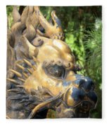 Fierce Foo Dog Face Fleece Blanket