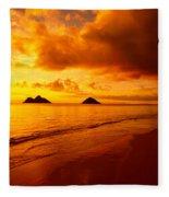 Fiery Lanikai Beach Fleece Blanket