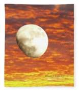 Fiery Moon Fleece Blanket