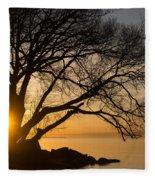 Fiery Sunrise - Like A Golden Portal To Another World Fleece Blanket