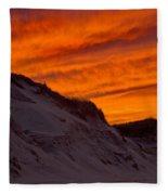 Fiery Sunset Over The Dunes Fleece Blanket