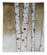 Fifteen Birch Trees Fleece Blanket