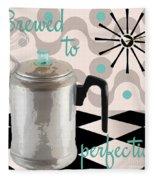 Fifties Kitchen Coffee Pot Perk Coffee Fleece Blanket