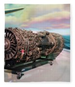 Fighter Jet Engine Fleece Blanket