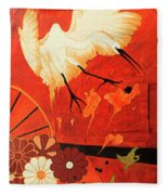 Fighting Crane 1  Fleece Blanket