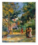 Figures In A Garden Fleece Blanket