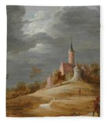 Figures In A Landscape With A Castle Beyond Fleece Blanket