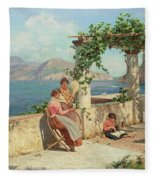 Figures On A Terrace In Capri  Fleece Blanket