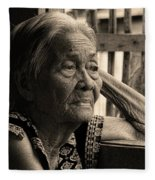 Filipino Lola Image Number 33 In Black And White Sepia Fleece Blanket