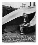 Fin Whale 69 Feet Long At Fields Landing Whaling Station Circa 1945 Fleece Blanket