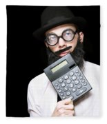 Financial And Accounting Genius With Calculator Fleece Blanket