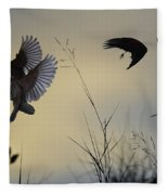 Finches Silhouette With Leaves 5 Fleece Blanket