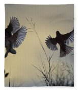 Finches Silhouette With Leaves 6 Fleece Blanket