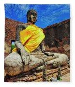 Finding, Not Seeking At Wat Worachetha Ram In Ayutthaya, Thailand Fleece Blanket