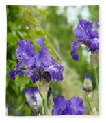 Fine Art Floral Prints Purple Iris Flowers Canvas Irises Baslee Troutman Fleece Blanket