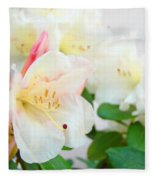 Fine Art Florals Prints White Pink Rhodies Rhododendrons Baslee Troutman Fleece Blanket