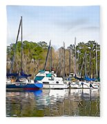 Fine Day To Sail - Illustration Style  Fleece Blanket