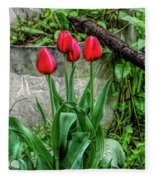 Fine Wine Cafe Red Tulips Fleece Blanket