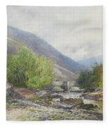 Fingle Bridge On The Teign Fleece Blanket