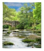 Fingle Bridge - P4a16007 Fleece Blanket