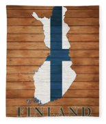 Finland Rustic Map On Wood Fleece Blanket