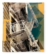 Fire Escapes In White And Gold Fleece Blanket
