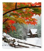 Fire Fog And Snowy Fence Fleece Blanket