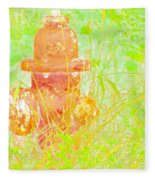 Fire Hydrant Watercolor Fleece Blanket