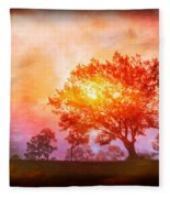 Fire In The Trees Fleece Blanket