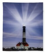 Fire Island Lighthouse Twilight Fleece Blanket