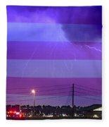 Fire Rescue Station 67  Lightning Thunderstorm With Usa Flag Fleece Blanket