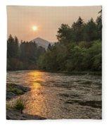 Fire Sunrise On Mckenzie River Fleece Blanket