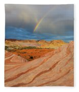 Fire Wave Rainbow Dawn Fleece Blanket